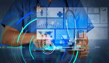 Accurate diagnosis appropriate treatment medical concept.Medicine doctor working with modern tablet computer and virtual interface