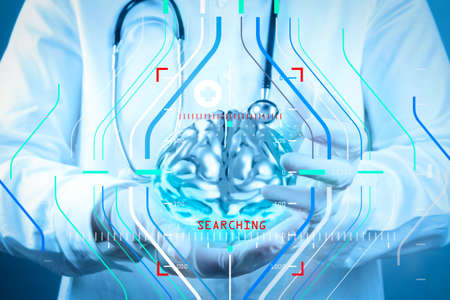 Accurate diagnosis appropriate treatment medical concept.medical  doctor with brain3d meatl in his hands as concept Banco de Imagens