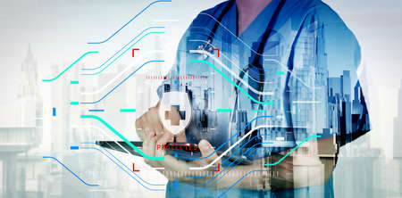 Health protection. Medical and health care concept.Double exposure of smart medical doctor working with abstract city as concept