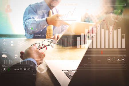Intelligence (BI) and business analytics (BA) with key performance indicators (KPI) dashboard concept.Business team meeting present. professional investor working new startup project.  Stock Photo