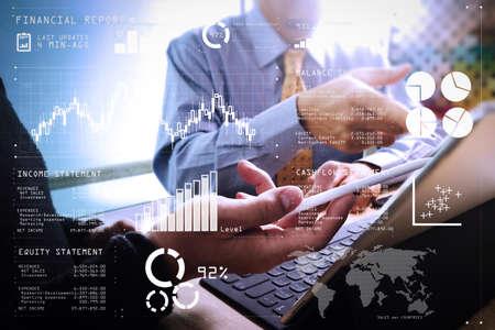 Dane raportu finansowego operacji biznesowych (bilans i rachunek zysków i strat oraz wykres) jako koncepcja Fintech. Obecne spotkanie zespołu biznesowego. profesjonalny inwestor pracujący nad nowym projektem startupowym. Spotkanie menedżerów ds. Finansów.