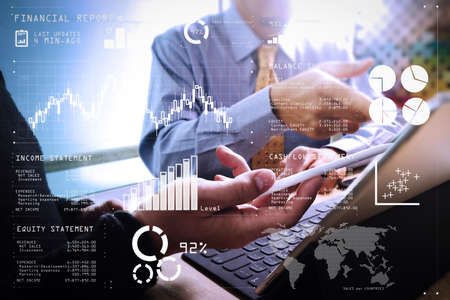 Financial report data of business operations (balance sheet and income statement and diagram) as Fintech concept.Business team meeting present. professional investor working new startup project. Finance managers meeting.