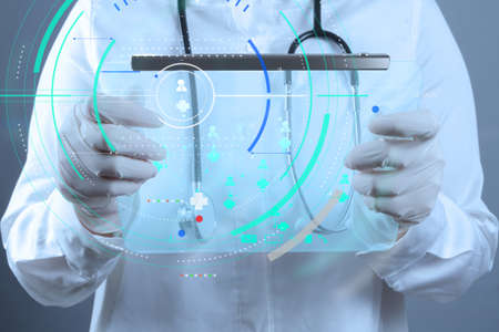 Accurate diagnosis appropriate treatment medical concept.Medicine doctor working with modern computer interface as medical network concept