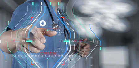 Accurate diagnosis appropriate treatment medical concept.Medicine doctor hand working with modern computer interface as medical concept  Banco de Imagens