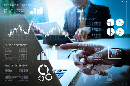 Financial report data of business operations (balance sheet and  income statement and diagram) as Fintech concept.Business team meeting present. professional investor working new startup project.