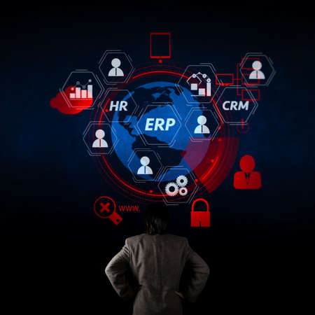 Architecture of ERP (Enterprise Resource Planning) system with connections between business intelligence (BI), production, CRM modules and HR diagram.businessman looking at 3d world with padlock as Internet security.