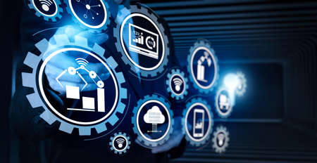 Smart factory and industry 4.0 and connected production robots exchanging data with internet of things (IoT) with cloud computing technology.