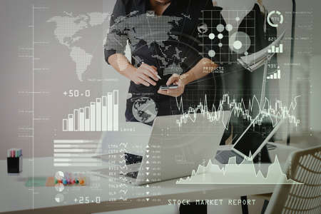 Investor analyzing stock market report and financial dashboard with business intelligence (BI), with key performance indicators (KPI).