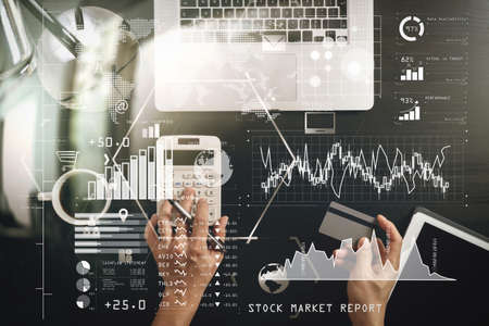 Investor analyzing stock market report and financial dashboard with business intelligence (BI), with key performance indicators (KPI).Internet shopping concept.