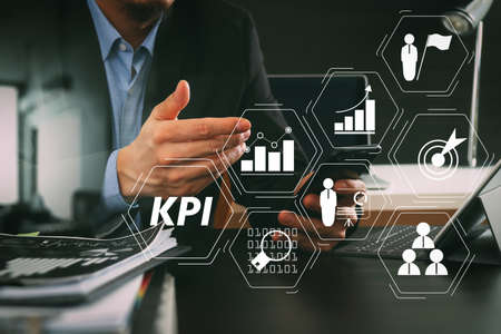 Key Performance Indicator (KPI) workinng with Business Intelligence (BI) metrics to measure achievement and planned target.