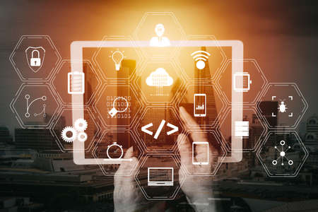 Coding software developer work with augmented reality dashboard computer icons of scrum agile development and code fork and versioning with responsive cybersecurity