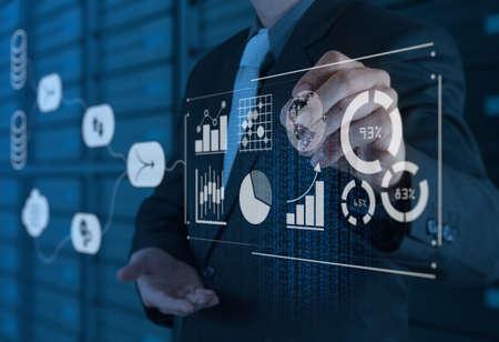 비즈니스 분석 개념이있는 데이터 관리 시스템 (DMS). 가상 컴퓨터에서 KPI (핵심 성과 지표) 및 마케팅 분석에 대한 정보를 제공하는 사업가 스톡 콘텐츠