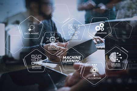 Machine learning technology diagram with artificial intelligence (AI),neural network,automation,data mining in VR screen.StartUp Programming Team. Website designer working digital tablet dock keyboard and computer laptop.