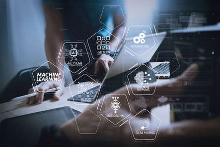 Machine learning technology diagram with artificial intelligence (AI),neural network,automation,data mining in VR screen. Stock Photo