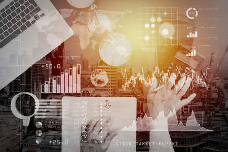 Investor analyzing stock market report and financial dashboard with business intelligence (BI), with key performance indicators (KPI).justice and law concept.businessman or lawyer or accountant working on accounts. Фото со стока