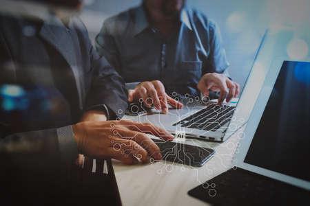 人工知能(AI)、仮想ダッハボード上のデータマイニング技術を使用した機械学習。ビジネスチームミーティング。新しいスタートアッププロジェクトを働く写真プロの投資家。財務タスク。デジタルタブレットドッキングキーボード。 写真素材 - 102402942