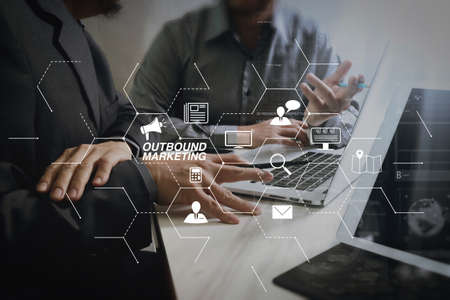 Outbound marketing business virtual dashboard with Offline or interruption marketing.Business team meeting. Photo professional investor working new start up project. Finance task.Digital tablet docking keyboard.