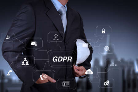 GDPR. Data Protection Regulation with Cyber security and privacy virtual diagram.smart engineer and success in his business