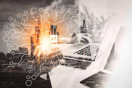 Intelligence artificielle (IA), apprentissage automatique avec technologie d'exploration de données sur tableau de bord virtuel.Double exposition d'un homme d'affaires prospère travaillant au bureau avec un ordinateur portable tablette numérique avec un bâtiment de Londres