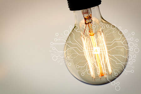 Artificial Intelligence (AI),machine learning with data mining technology on virtual dachboard.vintage light bulb with copy space as creative concept Archivio Fotografico