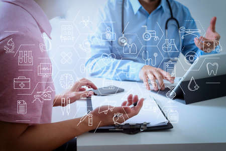 Health care and medical services concept with flat line AR interface.Medical doctor using mobile phone and consulting businessman patient having exam as Hospital professionalism concept