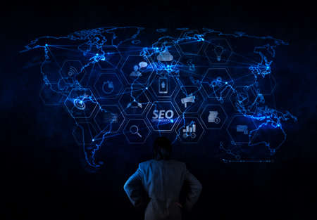 Seo Optimization for website with mobile website and Landing page virtual diagram.businessman working with new modern computer show social network structure