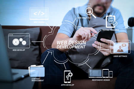 Developing programming and coding technologies with Website design in virtual diagram.hipster hand using digital tablet docking keyboard and smart phone for mobile payments online business,omni channel.
