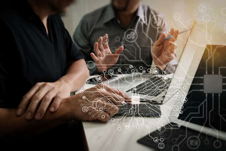 Artificial Intelligence (AI),machine learning with data mining technology on virtual dachboard.Business team meeting. Photo professional investor working new start up project. Finance task.Digital tablet docking keyboard.