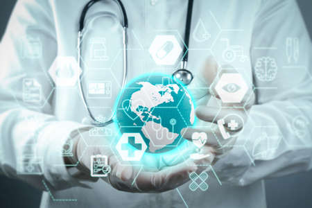 Health care and medical services concept with flat line AR interface.Medicine doctor working with modern computer interface
