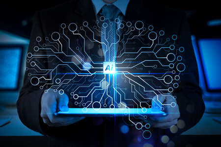 Artificial Intelligence (AI),machine learning with data mining technology on virtual dachboard.Double exposure of success businessman working in office with digital tablet laptop computer. Stock Photo