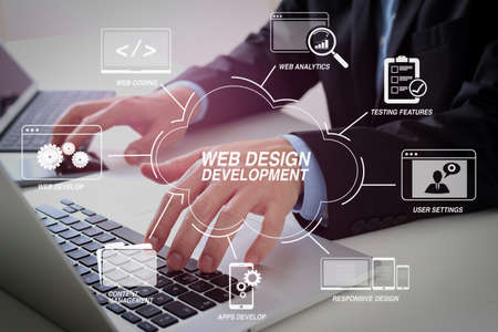 Developing programming and coding technologies with Website design in virtual diagram.Hands of businessman typing on laptop in modern office with smart phone and digital tablet computer