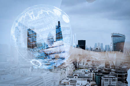 Intelligence (BI) and business analytics (BA) with key performance indicators (KPI) dashboard in VR globe form concept.Double exposure of success businessman using digital tablet with london building and social media