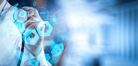 世界またはグローバルなフォームとARインターフェイスを持つヘルスケアと医療サービスの概念.成功スマートな医師は、コンセプトとして手術室と連携 写真素材 - 106949348