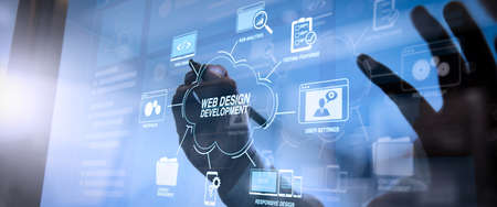 Developing programming and coding technologies with Website design in virtual diagram.cyber security internet and networking concept.Businessman hand working with VR screen padlock icon on mobile phone. Banque d'images