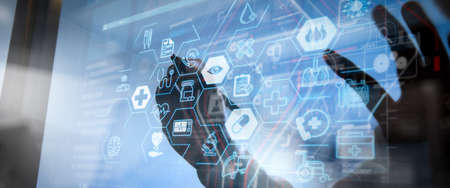 Health care and medical services concept with world or global form and AR interface.success smart medical doctor working with operating room as concept 写真素材