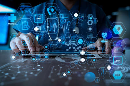 Health care and medical technology services concept with flat line AR interface.Medicine doctor hand working with modern computer interface as medical network concept Zdjęcie Seryjne