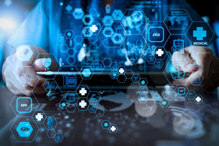 Health care and medical technology services concept with flat line AR interface.Medicine doctor hand working with modern computer interface as medical network concept 写真素材