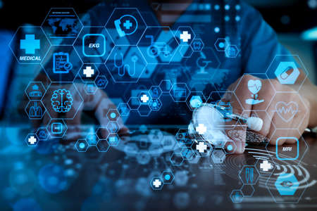 Health care and medical technology services concept with flat line AR interface.Medicine doctor hand working with modern computer interface as medical network concept Standard-Bild