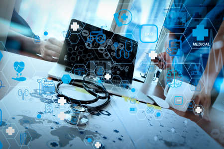 Health care and medical technology services concept with flat line AR interface.team doctor working with laptop computer in medical workspace office and medical network media diagram as concept