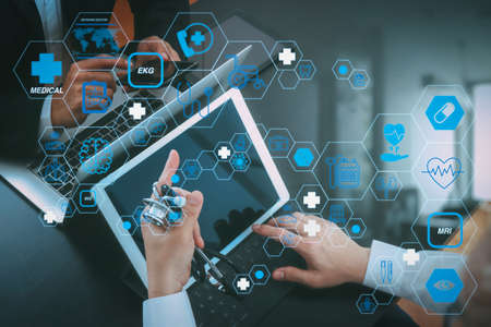 Health care and medical technology services concept with flat line AR interface.Medical co working concept,Doctor working with smart phone and digital tablet and laptop computer to meeting his team