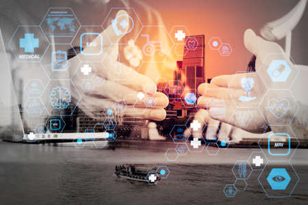 Health care and medical technology services concept with flat line AR interface.Medical and health care concept,Doctor and patient shaking hands in modern office at hospital,London city 写真素材