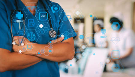 Health care and medical technology services concept with flat line AR interface.smart medical doctor working with stethoscope at modern hospital