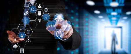Coding software developer work with augmented reality dashboard computer icons of scrum agile development and code fork and versioning with responsive cybersecurity.Businessman working with wide VR screen. 写真素材