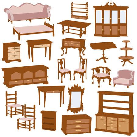 Wooden furniture,  illustration. Vector