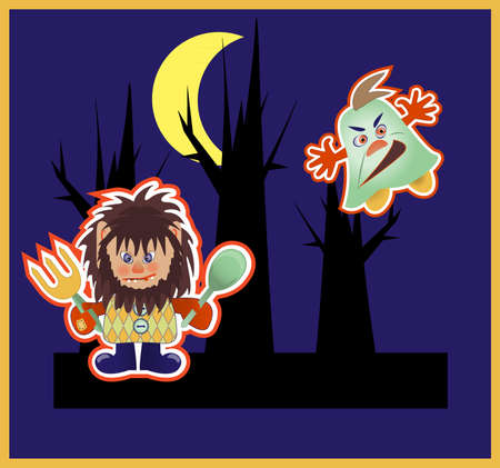 Monsters in the night, vector illustration  Vector