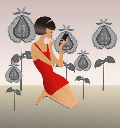 siluet: Girl in fantastic garden, vector illustration  Illustration