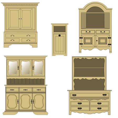aparador: M�veis de madeira estilo cl�ssico, ilustra��o vetorial