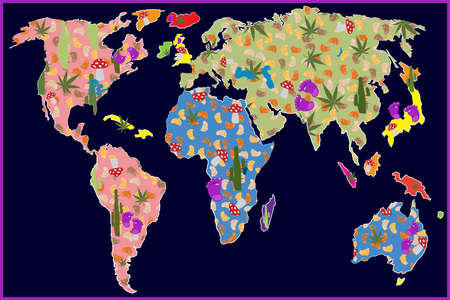 World map illustration in psychedelic style, illustration  Vector