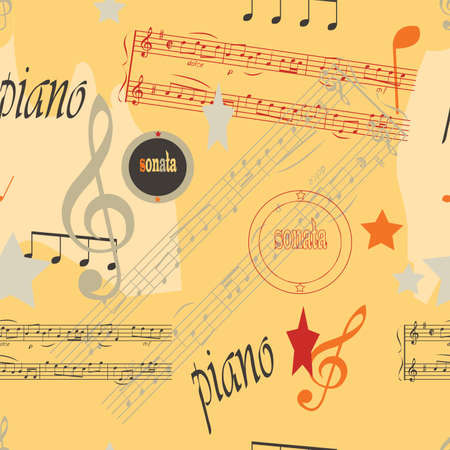 Collagelike seamless pattern  Music theme  Vector