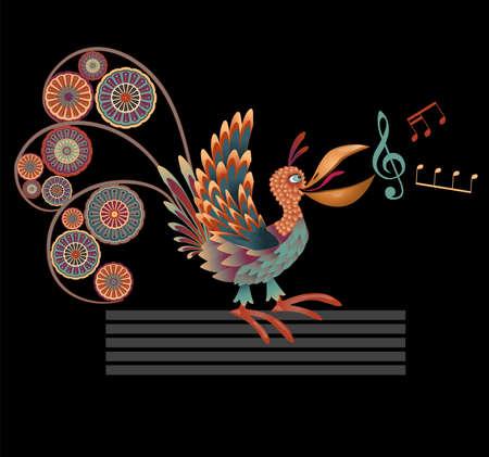 emote: Decorative singing bird   illustration on black background
